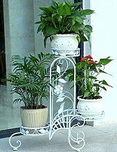 Blumenregal Iron Floor 3-lagiges Blumentopfgestell Europäische einfache Innen-und Außenbereich Pflanzen Bonsai Regale ( farbe : Weiß , größe : 70cm*22cm*71cm )