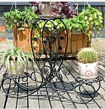 Blumenregal Iron Floor 3-lagiges Blumentopfgestell Europäische einfache Innen-und Außenbereich Pflanzen Bonsai Regale ( farbe : Schwarz , größe : 87cm*25.4cm*66cm )