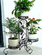 Blumenregal Iron Floor 3-lagiges Blumentopfgestell Europäische einfache Innen-und Außenbereich Pflanzen Bonsai Regale ( farbe : Schwarz , größe : 70cm*22cm*71cm )