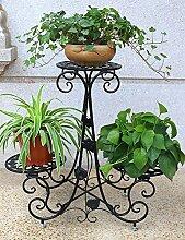 Blumenregal Iron Floor 3-lagiges Blumentopfgestell Europäische einfache Innen-und Außenbereich Pflanzen Bonsai Regale ( farbe : Schwarz , größe : 69cm*24cm*64cm )