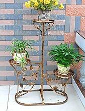 Blumenregal Iron Floor 3-lagiges Blumentopfgestell Europäische einfache Innen-und Außenbereich Pflanzen Bonsai Regale ( farbe : Messing , größe : 60cm*29cm*95cm )