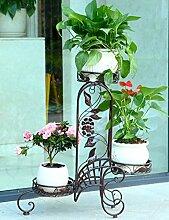 Blumenregal Iron Floor 3-lagiges Blumentopfgestell Europäische einfache Innen-und Außenbereich Pflanzen Bonsai Regale ( farbe : Messing , größe : 70cm*22cm*71cm )