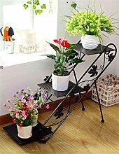 Blumenregale Bügeleisen 3-stöckige Bodenleiter Blumentopf Rack, Pflanze Stand, Blumenregal für Wohnzimmer, Indoor und Outdoor Pflanze Regal ( Farbe : Schwarz )