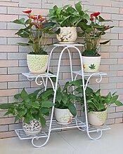 Blumenregale Eisen-Blumen-Racks Mehrgeschossige Boden-Balkon-Blumen-Topf-Zahnstange-Wohnzimmer-Blumen-Regal Einfacher Blumen-Standplatz Pflanze Regal ( Farbe : A1-76*73cm )