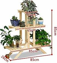 Blumenregale, Wohnzimmer Blumenregale European - Style Creative Two - Story Hölzerne Blumentopf Rack Wohnzimmer Balkon Hölzerne Blumentopf Regal Balkon, Blütenstand im Freien ( farbe : Gelb )