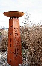 Blumensäule mit eigenem Namen, Rost Säule einzigartig, Edelrost Säule mit Schale
