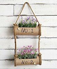 Blumenständer Amerikanische Pastoralwand Henging Kreative Blumenregal Pflanze Stand Blumentopf Regal Für Balkon Wohnzimmer Indoor Gelb mit Pflanzen Blumen ( größe : D )