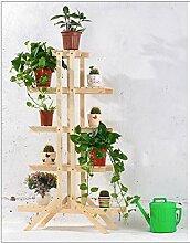 Blumenständer Balkon Boden Grüne Racks Bambus Mehr Fleisch Massivholz Falten Indoor Wohnzimmer Regal ( Farbe : Holz Farbe , größe : 84*26*145cm )