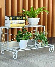Blumenständer Eisen 2 - Geschoß Boden Pflanze Stand Leiter Blumentopf Regal Blume Rack Für Balkon Wohnzimmer Indoor ( Farbe : Weiß , größe : 72cm )