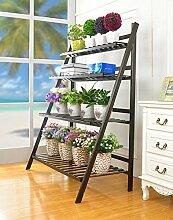 Blumenständer Eisen Blumen Racks Holz Balkon Blumentopf Rahmen Geländer Multi - Layer Leiter Blume Rack Pflanzentreppe ( größe : 70*120cm )