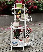 Blumenständer Eisen Blumentopf Regal Kreativ Pflanze Stand Blume Rack für Wohnzimmer Balkon Indoor ( Farbe : Weiß )