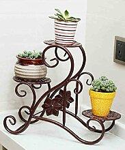 Blumenständer Europäischer Stil Kreativer Eisen Balkon Schreibtisch Blumentöpfe Regal Pflanze Stand ( farbe : Messing )