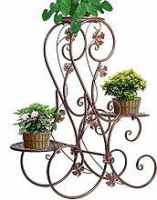 Blumenständer für 3 Blumentöpfe, 3 Etagen, geschwungenes, dekoratives Design, Metall, Garten/Terrasse, Bronzefarben