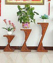 Blumenständer Massivholz Pflanze Stand 2-stöckig Boden Blumentopf Regal Blume Rack Für Balkon, Wohnzimmer, Interieur ( größe : Height51cm+71cm+91cm )