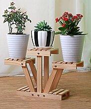 Blumenständer Massivholz Pflanze Stand 3-stöckigen Desktop Blumentopf Regal Blume Rack Für Balkon, Wohnzimmer, Interieur ( farbe : Gelb )