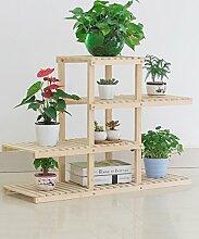 Blumenständer Massivholz Pflanze Stand 3 - Tier Boden Blumentopf Regal Blume Rack Für Balkon Wohnzimmer Indoor Braun, Gelb ( Farbe : Gelb )
