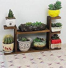 Blumenständer Massivholz Pflanze Stand Mehrstöckige Tischdecke Blumenständer Blumentopf Regal Für Balkon Wohnzimmer Indoor Braun ( Farbe : D )
