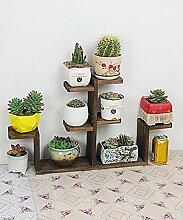 Blumenständer Massivholz Pflanze Stand Mehrstöckige Tischdecke Blumenständer Blumentopf Regal Für Balkon Wohnzimmer Indoor Braun ( Farbe : B )