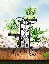 Blumenständer Outdoor Iron Flower Stand Multi - Storey Innen - und Außenbereich Einfache Balkon Wohnzimmer Gartenarbeit Blumen Regal Pflanzentreppe ( farbe : B , größe : 64*24*75cm )