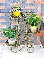 Blumenständer Outdoor Iron Flower Stand Multi - Storey Innen - und Außenbereich Einfache Balkon Wohnzimmer Gartenarbeit Blumen Regal Pflanzentreppe ( farbe : C , größe : 64*24*75cm )