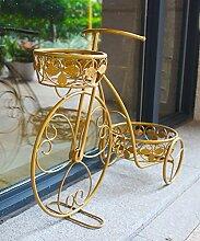 Blumenständer Window Bike Blumentopf Regal Eisen Multi - Storey Garten Pflanze Stand Blume Rack ( farbe : Gold )