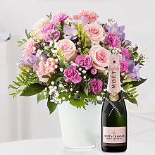 Blumenstrauß Blumenkuss Größe L mit Champagner
