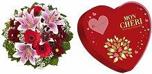 Blumenstrauß Charlotte mit rosa Lilien + Mon Chéri Herz, 9er Pack (9 x 147 g)