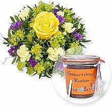 Blumenstrauß Friends und Kuchen im Glas Geburtstag