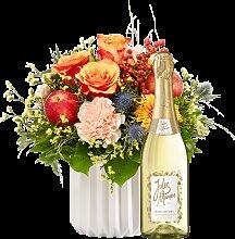 Blumenstrauß Für Dich viel Glück mit Sekt Jules