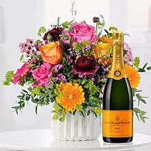 Blumenstrauß Happy Birthday to You mit Champagner