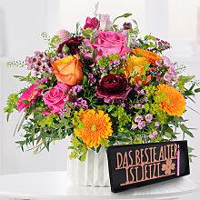 Blumenstrauß Happy Birthday to You mit Schriftzug