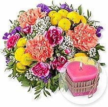 Blumenstrauß Lieber Gruß und Herz-Kerze