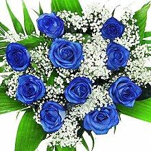 Blumenstrauß mit 10 echten blauen Rosen -