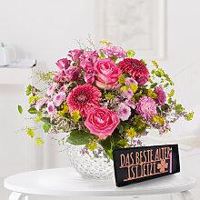 Blumenstrauß Pink Summer mit Schriftzug Das beste