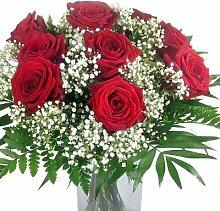 Blumenstrauß rote Rosen mit Schleierkraut und