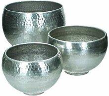 Blumentopf 3er Set gehämmert Metall - silber