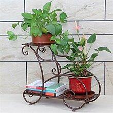 Blumentopf-Finish-Rack. European Style Metal Einfache Blumenregale Indoor und Outdoor Wohnzimmer Balkon Dekoration 2 Ebenen Blumentopf Rack Pflanzen vergoldet Rack ( Farbe : #2 )