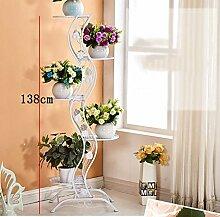 Blumentopf-Finish-Rack. Im europäischen Stil einfache Balkon Eisen-Stil Blume Rack / Multi-Layer Indoor und Outdoor Metall Pflanzen Display Ständer vertikale Blume Rack Pflanzen vergoldet Rack ( Farbe : A )