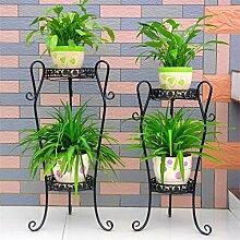 Blumentopf-Finish-Rack. Iron Flower Racks Mehrere Schichten European Style Blumentopf Rack Indoor und Outdoor Balkon Wohnzimmer Landing Flower Shelf (Farbe: Schwarz, 1 Stück) Pflanzen vergoldet Rack ( größe : S )