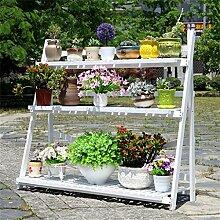 Blumentopf-Finish-Rack. Massivholz Blumenregale Balkon Wohnzimmer Mehrere Schichten Landung Hölzernes Blumenregal Blumen-Topf-Rack (Größe: 70cm) Pflanzen vergoldet Rack