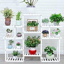 Blumentopf-Finish-Rack. Mehrere Schichten Massivholz-Blumenregale Landungsbalkon Wohnzimmer Innenraum Woody Blumenregal Blumentopf-Rack (Farbe: Weiß) Pflanzen vergoldet Rack