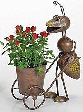 Blumentopf Karre Ameise, Gartenfigur Ameise mit