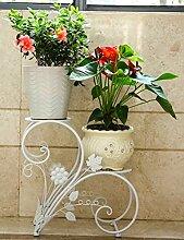 Blumentopf Regal Continental-Art Eisen zweistöckige Regale Balkon Wohnzimmer Regal ( farbe : Weiß , größe : 44cm*22cm*40cm )