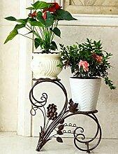 Blumentopf Regal Continental-Art Eisen zweistöckige Regale Balkon Wohnzimmer Regal ( farbe : Messing , größe : 44cm*22cm*40cm )