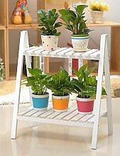 Blumentopf Regal Europäische einfache Holz 2 - Schicht - Pflanzenregale Wohnzimmer Balkon Schlafzimmer Planer Regal ( farbe : A , größe : 50cm*30cm*60cm )
