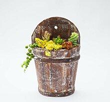Blumentopf Retro Holz Sukkulenten Pflanzen Fass