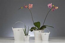 Blumentopf, Übertopf mit Henkel, Porzellan,