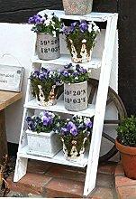 Blumentreppe Blumenregal Dekoleiter weiß