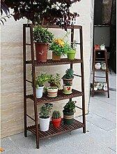 Blumentreppen Blumen-Rack, Leiter-Rack, Montage-Gitter Holz-Blumen-Rack, Multi-Fleisch-Trennwand Regale, Boden Lagerung Rack Holz blumentreppen ( Farbe : Vier , größe : 64 cm )