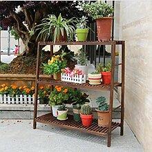 Blumentreppen Blumen-Rack, Leiter-Rack, Montage-Gitter Holz-Blumen-Rack, Multi-Fleisch-Trennwand Regale, Boden Lagerung Rack Holz blumentreppen ( Farbe : Drei , größe : 54cm )